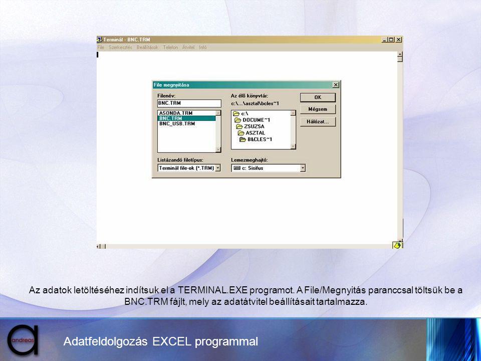 Adatfeldolgozás EXCEL programmal Az adatok letöltéséhez indítsuk el a TERMINAL.EXE programot. A File/Megnyitás paranccsal töltsük be a BNC.TRM fájlt,