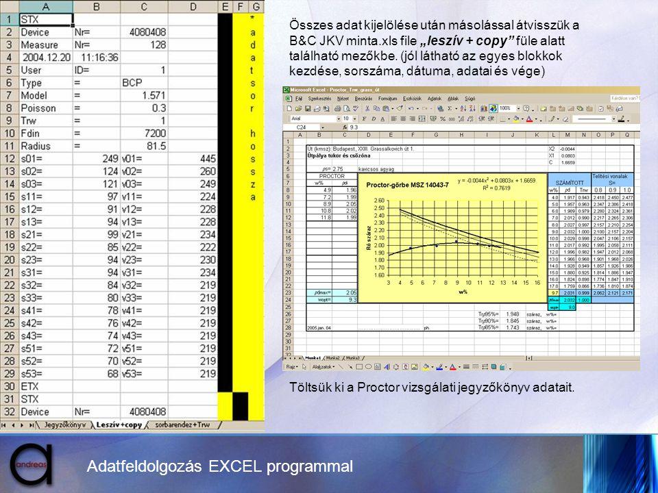 """Adatfeldolgozás EXCEL programmal Összes adat kijelölése után másolással átvisszük a B&C JKV minta.xls file """"leszív + copy"""" füle alatt található mezőkb"""