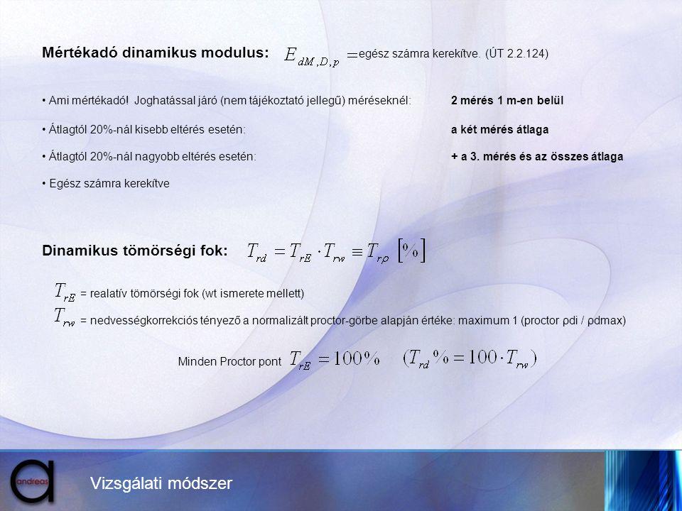 Vizsgálati módszer Mértékadó dinamikus modulus: egész számra kerekítve. (ÚT 2.2.124) • Ami mértékadó! Joghatással járó (nem tájékoztató jellegű) mérés