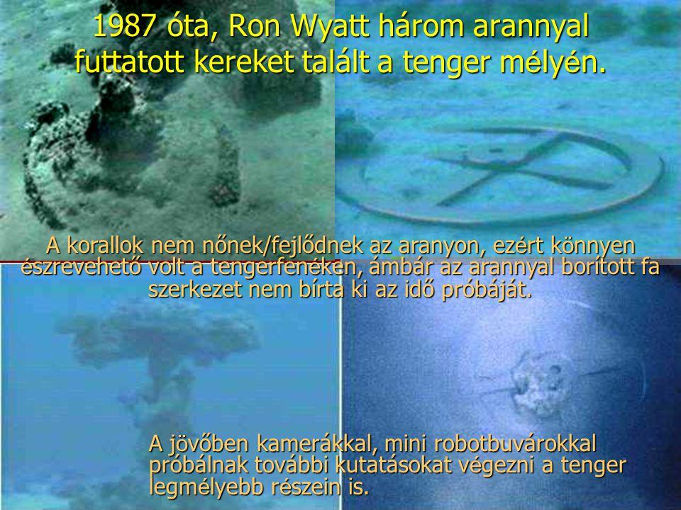 1987 óta, Ron Wyatt három arannyal futtatott kereket talált a tenger m é ly é n. A korallok nem nőnek/fejlődnek az aranyon, ez é rt k ö nnyen é szreve