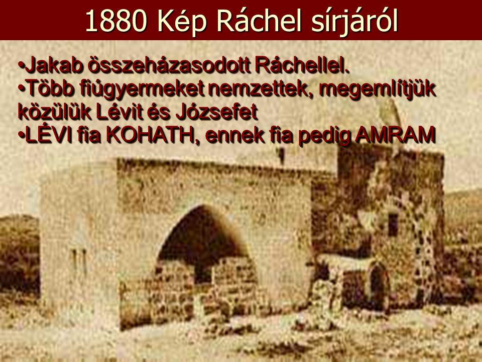 1880 K é p Ráchel sírjáról •Jakab összeházasodott Ráchellel. •Több fiúgyermeket nemzettek, megemlítjük közülük Lévit és Józsefet •LÉVI fia KOHATH, enn