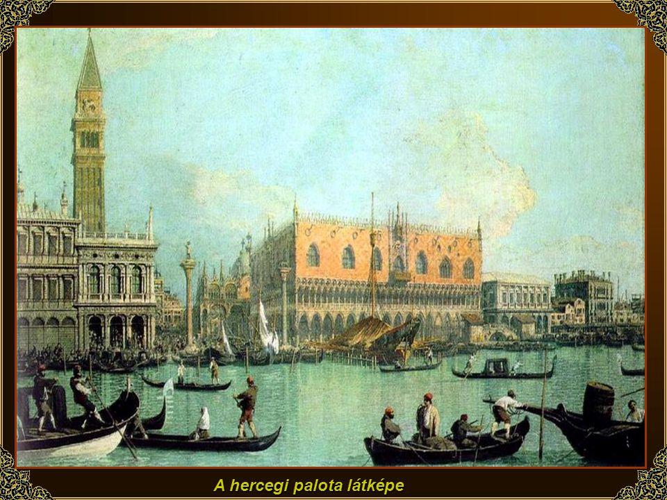 Velence: A Canale Grande és a Santa Maria della Salute templom (részlet), c. 1730