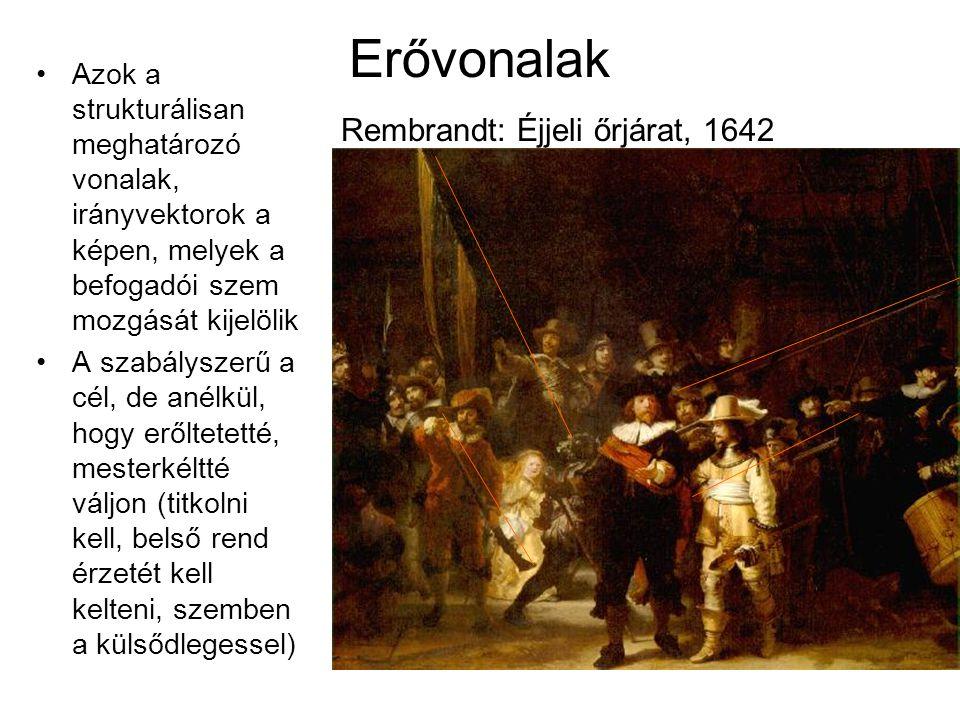 Erővonalak Rembrandt: Éjjeli őrjárat, 1642 •Azok a strukturálisan meghatározó vonalak, irányvektorok a képen, melyek a befogadói szem mozgását kijelöl