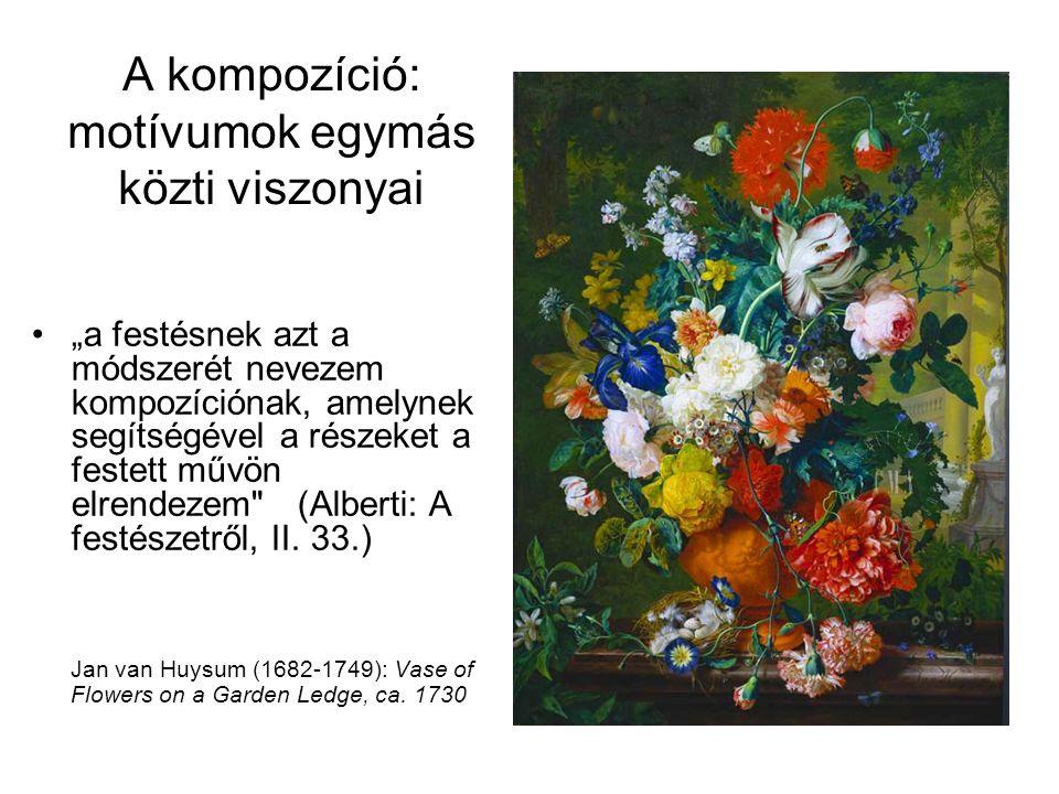 """A kompozíció: motívumok egymás közti viszonyai •""""a festésnek azt a módszerét nevezem kompozíciónak, amelynek segítségével a részeket a festett művön e"""