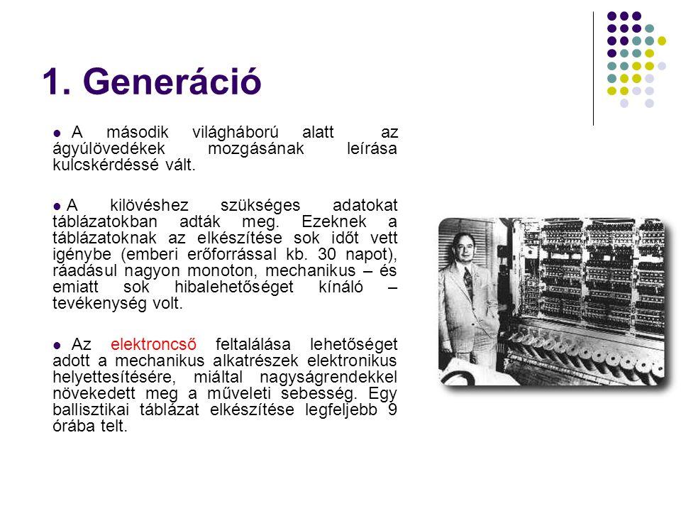 1. Generáció  A második világháború alatt az ágyúlövedékek mozgásának leírása kulcskérdéssé vált.  A kilövéshez szükséges adatokat táblázatokban adt