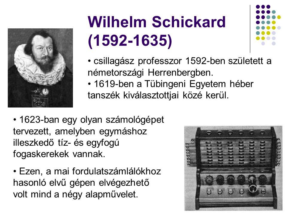 Wilhelm Schickard (1592-1635) • csillagász professzor 1592-ben született a németországi Herrenbergben. • 1619-ben a Tübingeni Egyetem héber tanszék ki