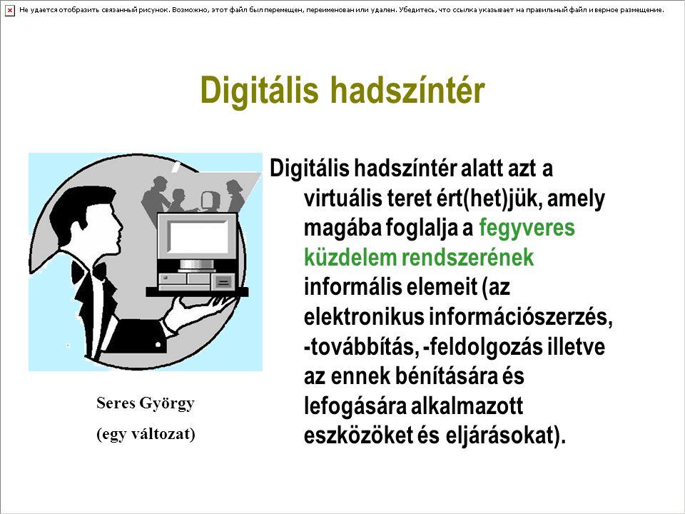 Digitális hadszíntér Digitális hadszíntér alatt azt a virtuális teret ért(het)jük, amely magába foglalja a fegyveres küzdelem rendszerének informális elemeit (az elektronikus információszerzés, -továbbítás, -feldolgozás illetve az ennek bénítására és lefogására alkalmazott eszközöket és eljárásokat).
