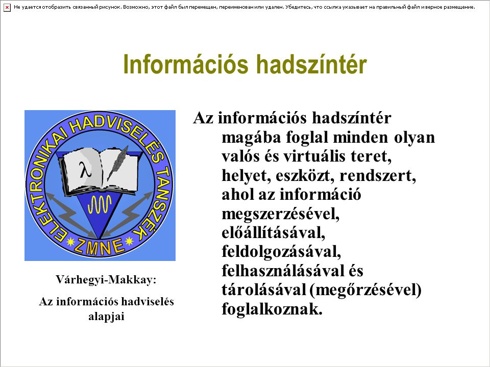 Információs hadszíntér Az eddigi négy hadszíntér mellett (1.