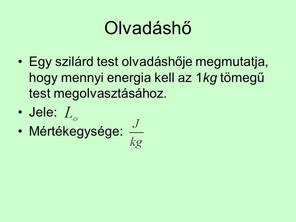 Olvadáshő •Egy szilárd test olvadáshője megmutatja, hogy mennyi energia kell az 1kg tömegű test megolvasztásához.