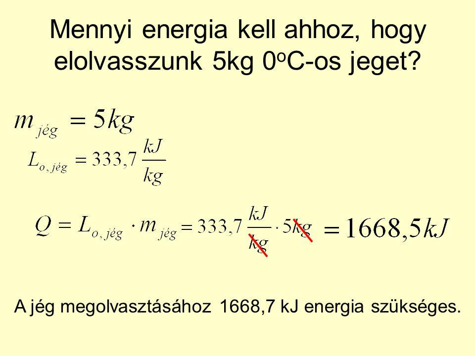 Mennyi energia kell ahhoz, hogy elolvasszunk 5kg 0 o C-os jeget.