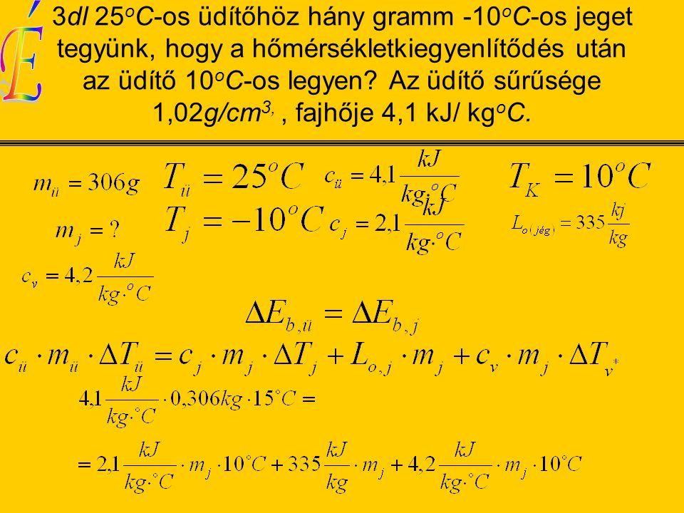 3dl 25 o C-os üdítőhöz hány gramm -10 o C-os jeget tegyünk, hogy a hőmérsékletkiegyenlítődés után az üdítő 10 o C-os legyen.