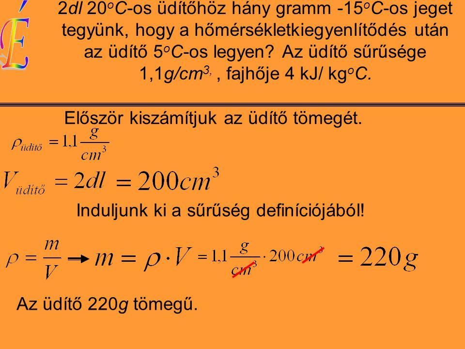 2dl 20 o C-os üdítőhöz hány gramm -15 o C-os jeget tegyünk, hogy a hőmérsékletkiegyenlítődés után az üdítő 5 o C-os legyen.