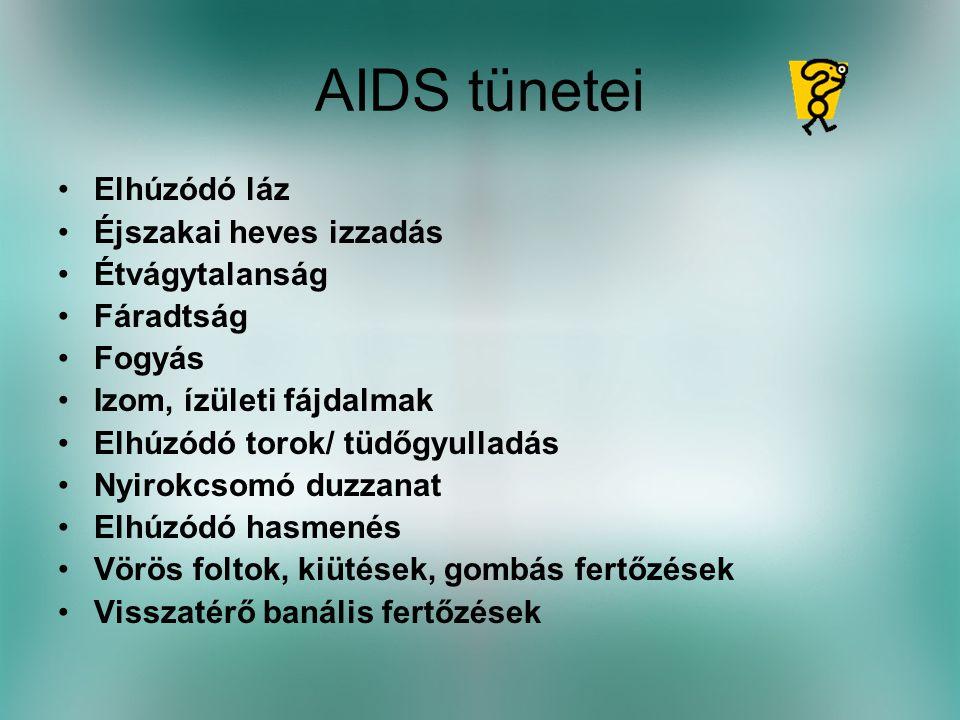 AIDS tünetei •Elhúzódó láz •Éjszakai heves izzadás •Étvágytalanság •Fáradtság •Fogyás •Izom, ízületi fájdalmak •Elhúzódó torok/ tüdőgyulladás •Nyirokcsomó duzzanat •Elhúzódó hasmenés •Vörös foltok, kiütések, gombás fertőzések •Visszatérő banális fertőzések