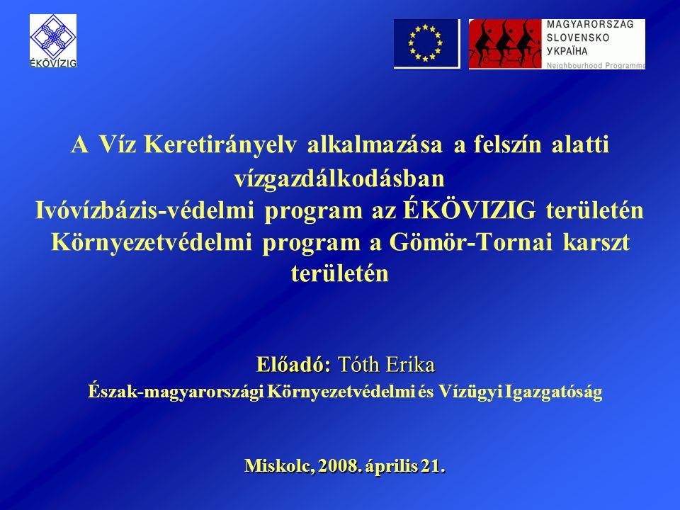 A projekt résztvevői Pályázó: Észak-magyarországi Környezetvédelmi és Vízügyi Igazgatóság (Főkedvezményezett és Vezető partner - Magyarország) Partner: Mesto Tornal'a (Kedvezményezett - Szlovákia) Diagnosztikát végző fővállalkozó: KSzI Környezetvédelmi Szakértői Iroda Kft.