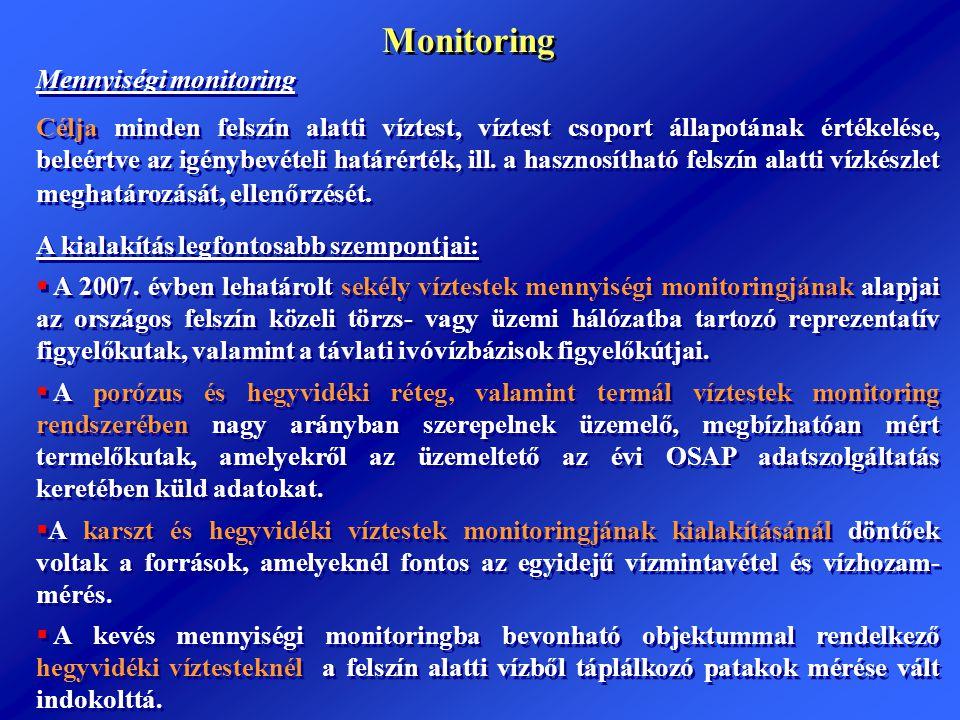 Monitoring Mennyiségi monitoring Célja minden felszín alatti víztest, víztest csoport állapotának értékelése, beleértve az igénybevételi határérték, i