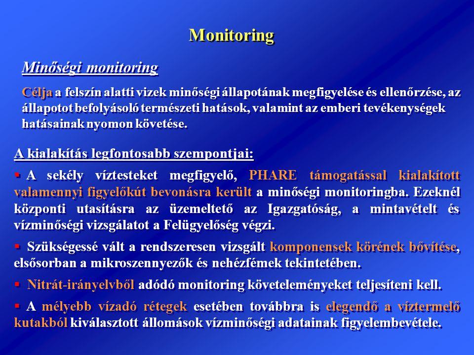 Monitoring Minőségi monitoring Célja a felszín alatti vizek minőségi állapotának megfigyelése és ellenőrzése, az állapotot befolyásoló természeti hatá