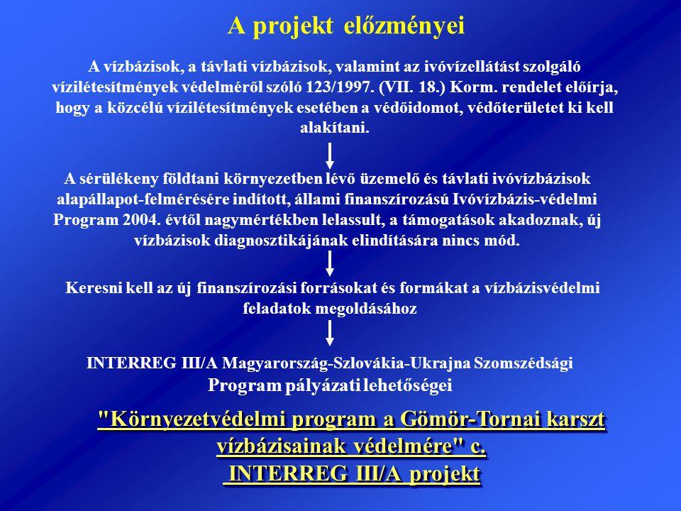 A projekt előzményei A vízbázisok, a távlati vízbázisok, valamint az ivóvízellátást szolgáló vízilétesítmények védelméről szóló 123/1997. (VII. 18.) K