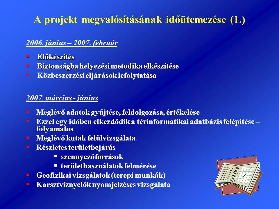 A projekt megvalósításának időütemezése (1.) 2006. június – 2007. február  Előkészítés  Biztonságba helyezési metodika elkészítése  Közbeszerzési e