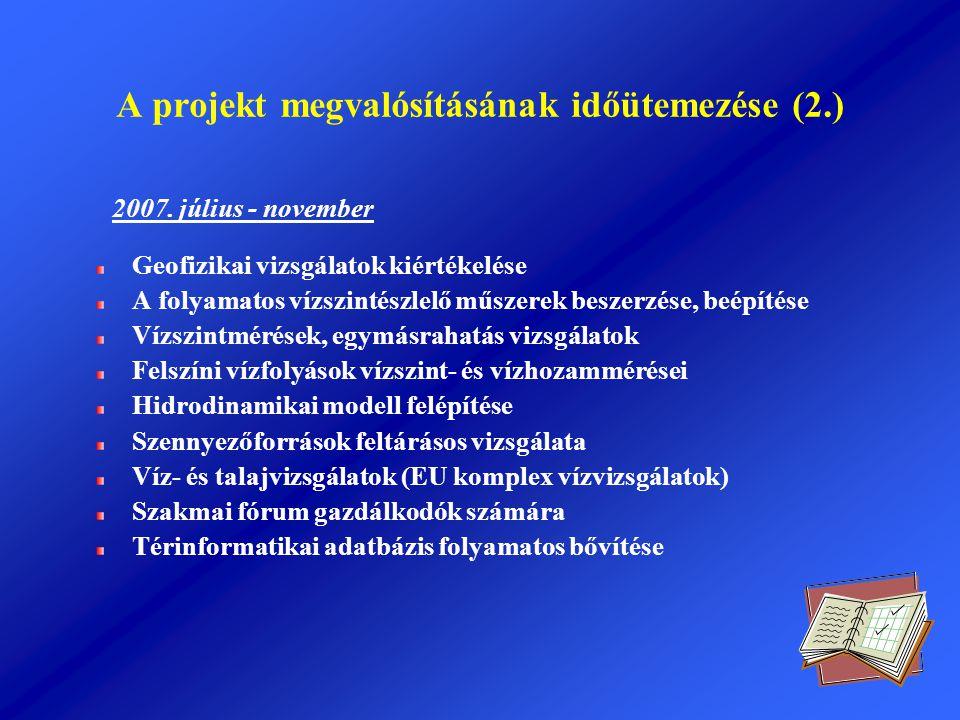 A projekt megvalósításának időütemezése (2.) 2007. július - november Geofizikai vizsgálatok kiértékelése A folyamatos vízszintészlelő műszerek beszerz
