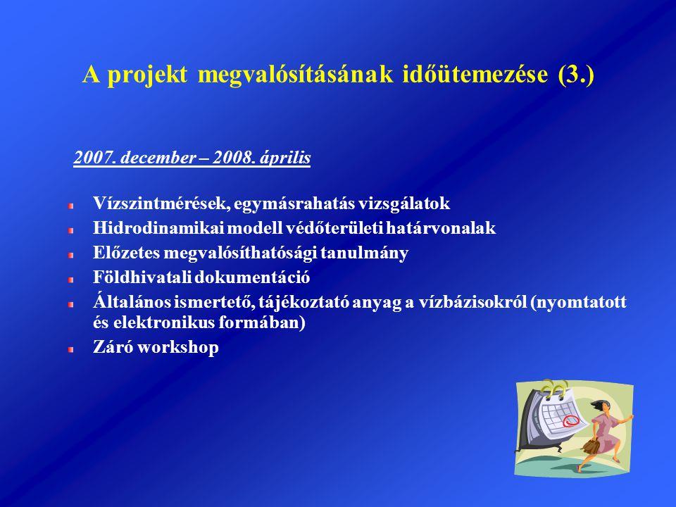 A projekt megvalósításának időütemezése (3.) 2007. december – 2008. április Vízszintmérések, egymásrahatás vizsgálatok Hidrodinamikai modell védőterül