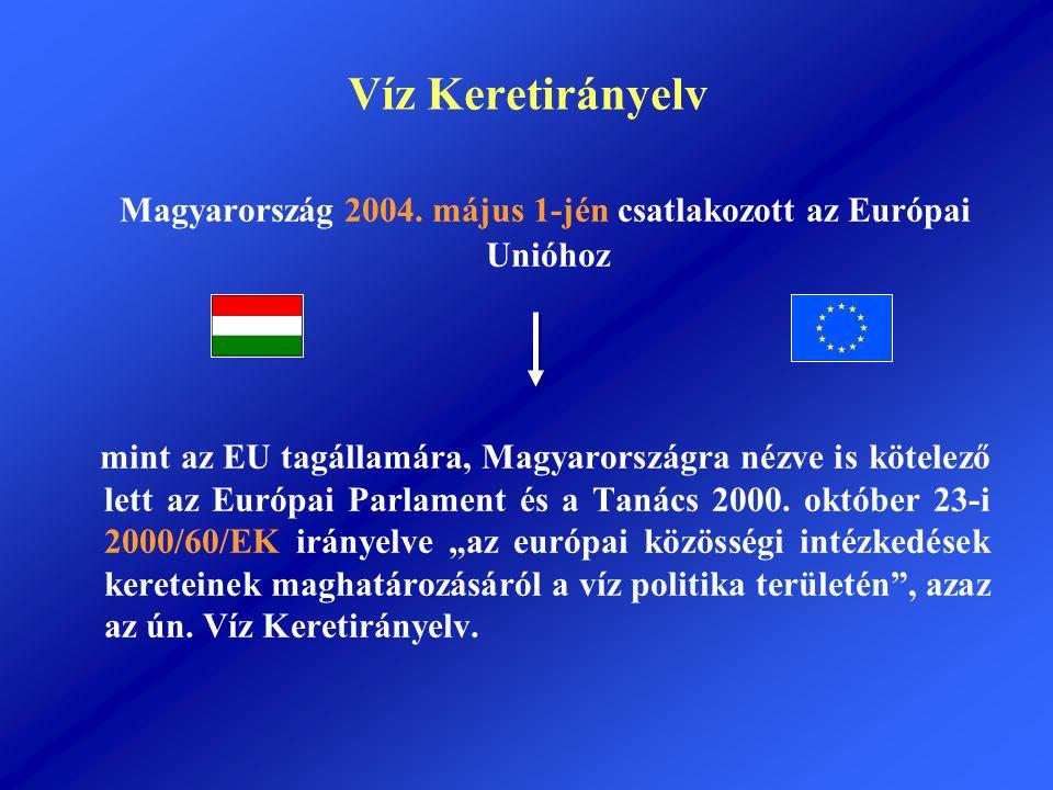 Víz Keretirányelv Magyarország 2004. május 1-jén csatlakozott az Európai Unióhoz mint az EU tagállamára, Magyarországra nézve is kötelező lett az Euró