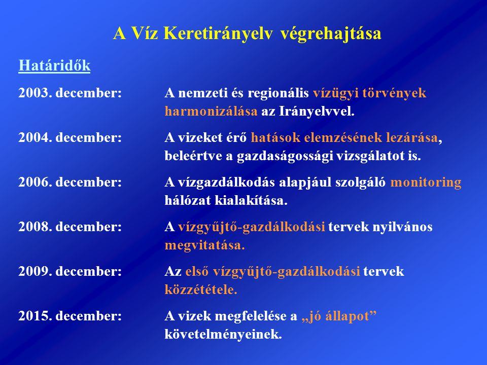 A Víz Keretirányelv végrehajtása Határidők 2003. december:A nemzeti és regionális vízügyi törvények harmonizálása az Irányelvvel. 2004. december: A vi