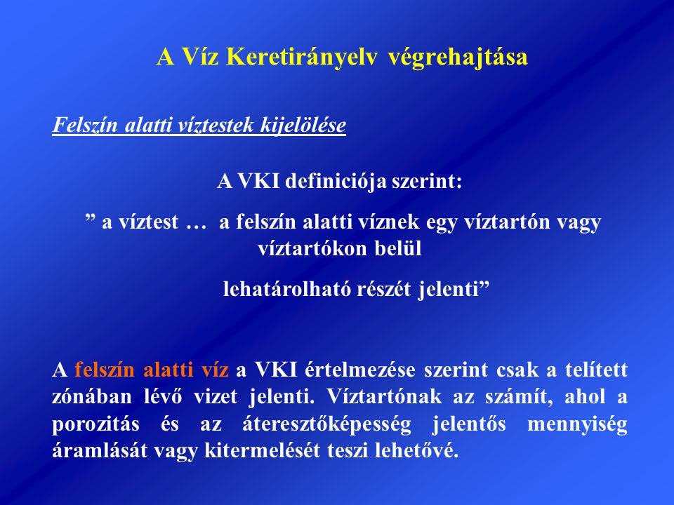 """A Víz Keretirányelv végrehajtása A VKI definiciója szerint: """" a víztest … a felszín alatti víznek egy víztartón vagy víztartókon belül lehatárolható r"""