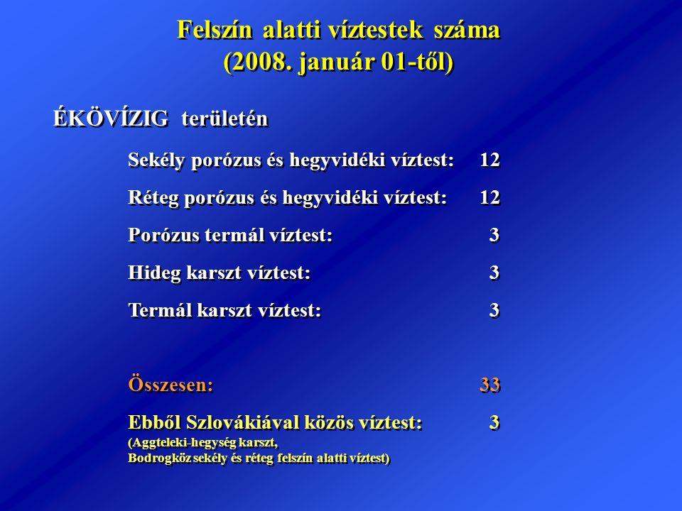 Felszín alatti víztestek száma (2008. január 01-től) Felszín alatti víztestek száma (2008. január 01-től) Sekély porózus és hegyvidéki víztest: 12 Rét