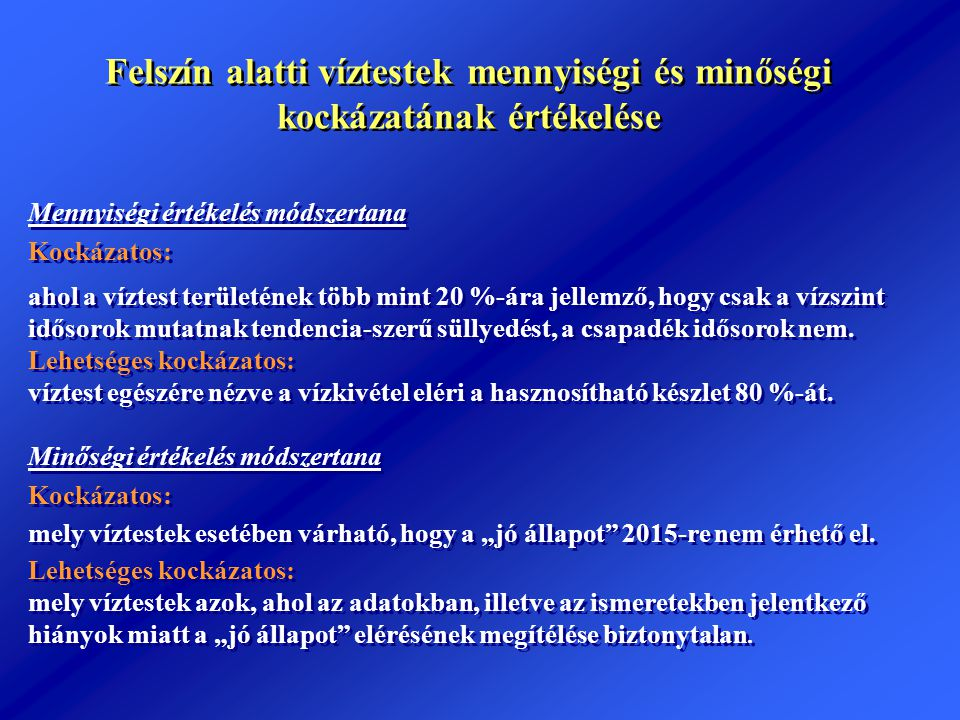 Új lehetőségek Magyarország-Szlovákia-Ukrajna Szomszédsági Program (INTERREG) Határokon átnyúló hatás (Forrása: EU támogatás és Magyar Köztársaság társfinanszírozás) Új Magyarország Fejlesztési Terv Környezet és Energia Operatív Program (Forrása: EU támogatás és Kohéziós Alap társfinanszírozás) Vizeink jó kezelése prioritási tengely Ivóvízbázis-védelem konstrukció A) komponens Üzemelő vízbázisok diagnosztikai vizsgálata B) Komponens Vízbázisok biztonságba helyezése C) komponens Távlati vízbázisok diagnosztikai vizsgálata (3 db)