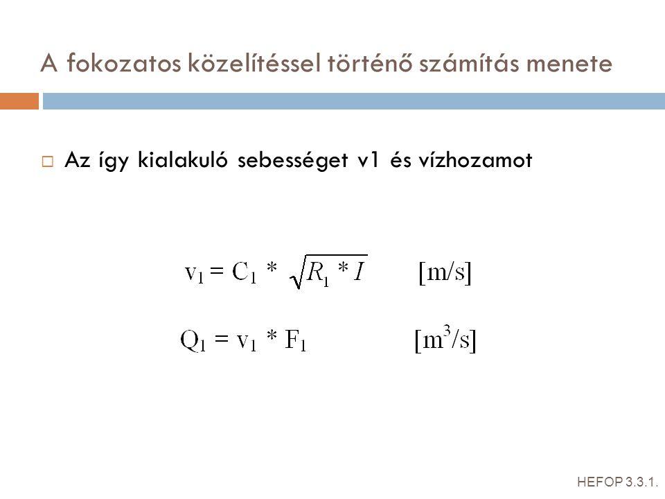 A fokozatos közelítéssel történő számítás menete  Az így kialakuló sebességet v1 és vízhozamot HEFOP 3.3.1. -Ha a számított Q1 = v1 * F1 < Q, akkor m