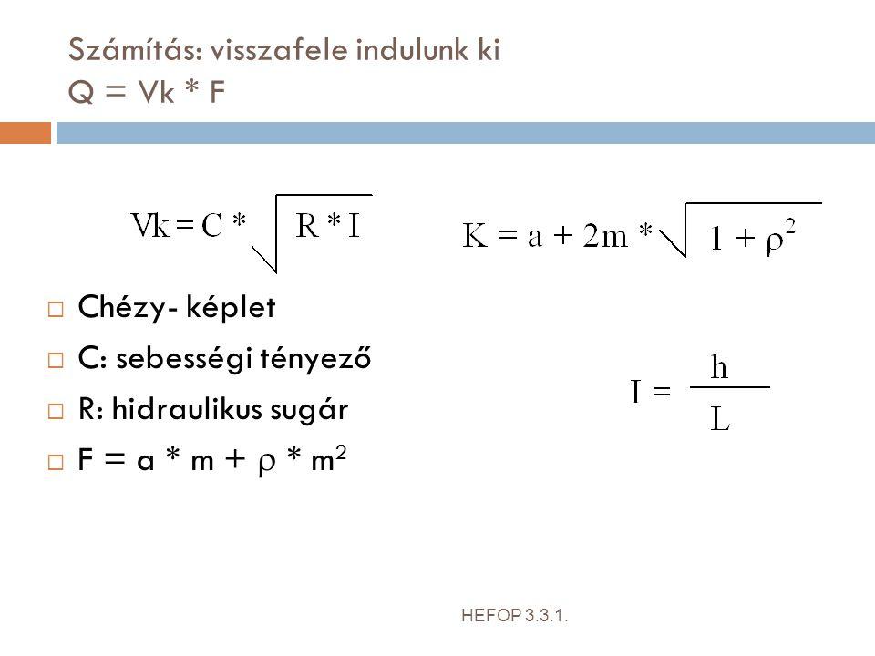 Számítás: visszafele indulunk ki Q = Vk * F HEFOP 3.3.1.  Chézy- képlet  C: sebességi tényező  R: hidraulikus sugár  F = a * m +  * m 2