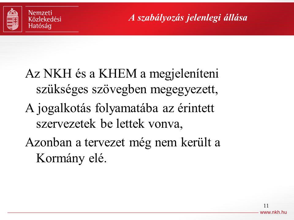 11 A szabályozás jelenlegi állása Az NKH és a KHEM a megjeleníteni szükséges szövegben megegyezett, A jogalkotás folyamatába az érintett szervezetek be lettek vonva, Azonban a tervezet még nem került a Kormány elé.