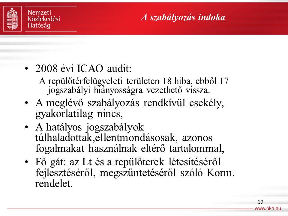 13 A szabályozás indoka •2008 évi ICAO audit: A repülőtérfelügyeleti területen 18 hiba, ebből 17 jogszabályi hiányosságra vezethető vissza. •A meglévő