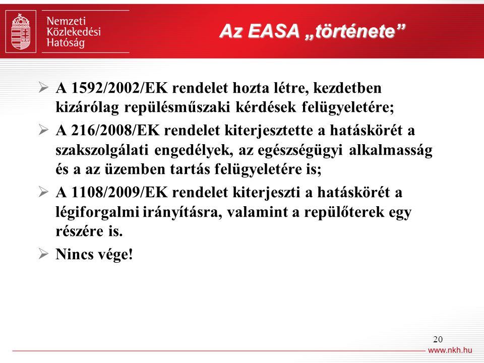 """20 Az EASA """"története  A 1592/2002/EK rendelet hozta létre, kezdetben kizárólag repülésműszaki kérdések felügyeletére;  A 216/2008/EK rendelet kiterjesztette a hatáskörét a szakszolgálati engedélyek, az egészségügyi alkalmasság és a az üzemben tartás felügyeletére is;  A 1108/2009/EK rendelet kiterjeszti a hatáskörét a légiforgalmi irányításra, valamint a repülőterek egy részére is."""