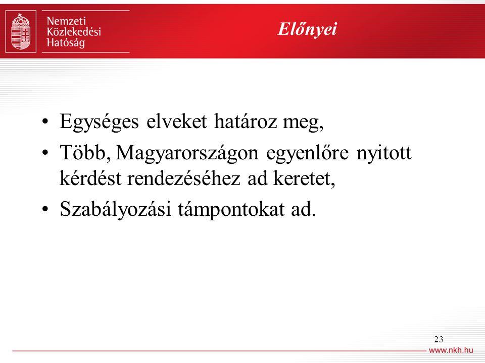 23 Előnyei •Egységes elveket határoz meg, •Több, Magyarországon egyenlőre nyitott kérdést rendezéséhez ad keretet, •Szabályozási támpontokat ad.