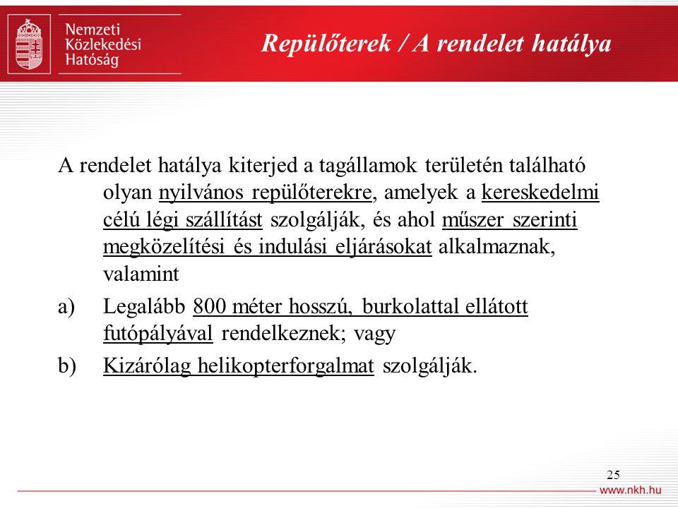 25 Repülőterek / A rendelet hatálya A rendelet hatálya kiterjed a tagállamok területén található olyan nyilvános repülőterekre, amelyek a kereskedelmi