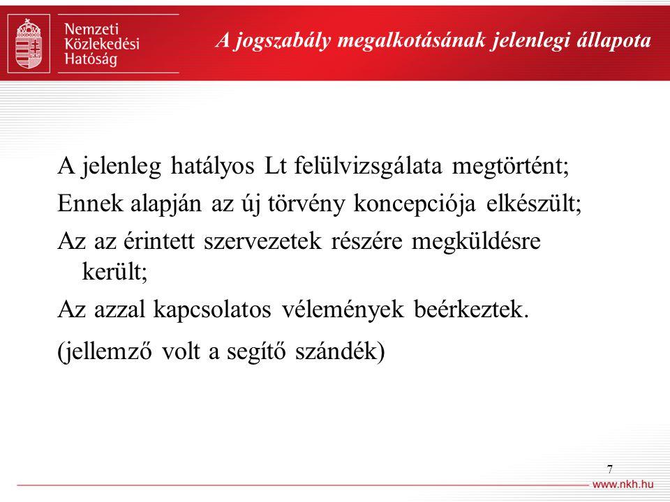 7 A jogszabály megalkotásának jelenlegi állapota A jelenleg hatályos Lt felülvizsgálata megtörtént; Ennek alapján az új törvény koncepciója elkészült;
