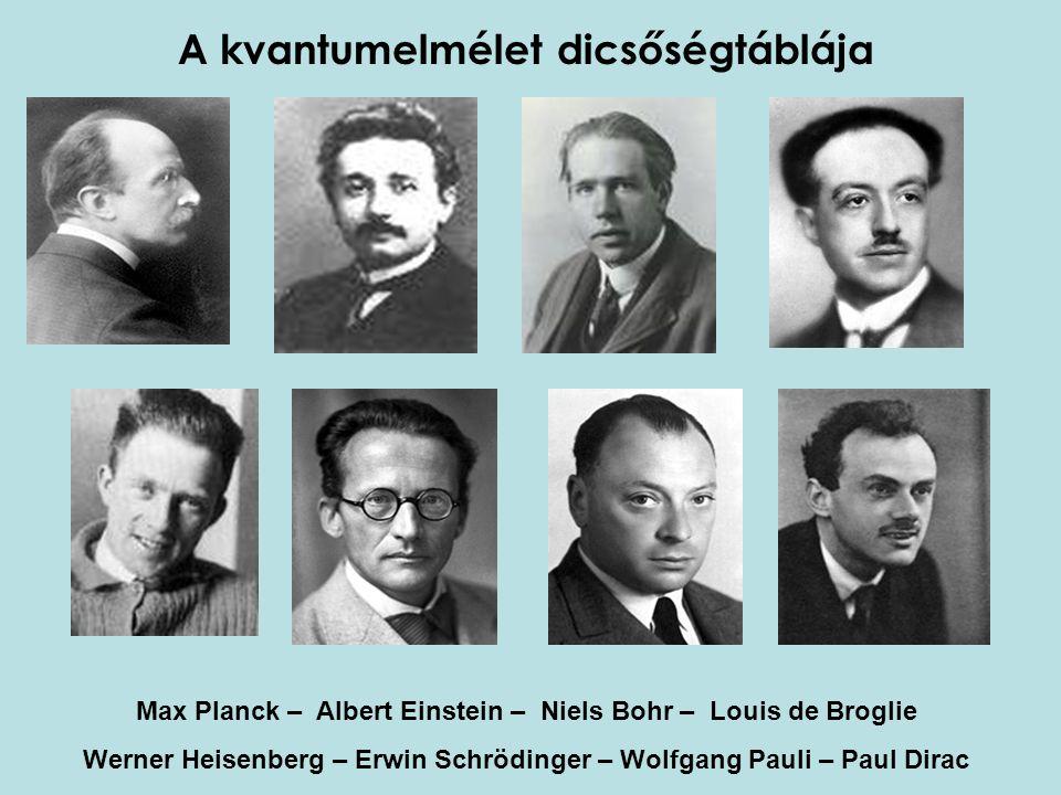 A kvantumelmélet dicsőségtáblája Max Planck – Albert Einstein – Niels Bohr – Louis de Broglie Werner Heisenberg – Erwin Schrödinger – Wolfgang Pauli –