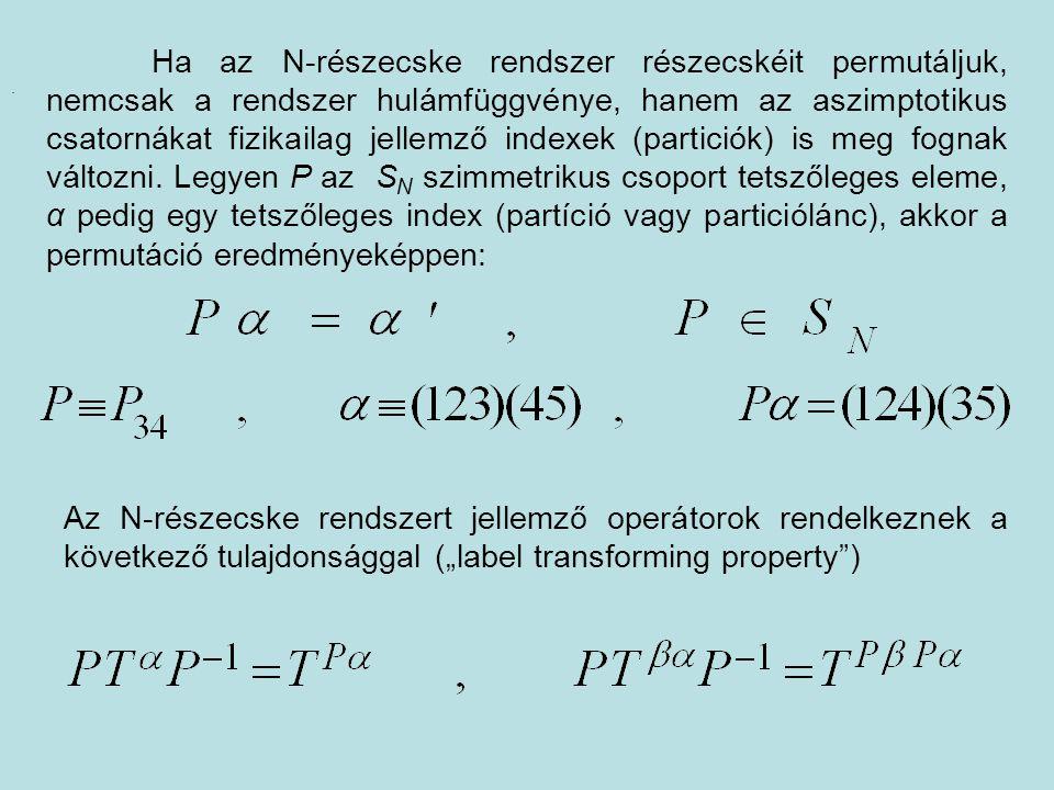 Ha az N-részecske rendszer részecskéit permutáljuk, nemcsak a rendszer hulámfüggvénye, hanem az aszimptotikus csatornákat fizikailag jellemző indexek