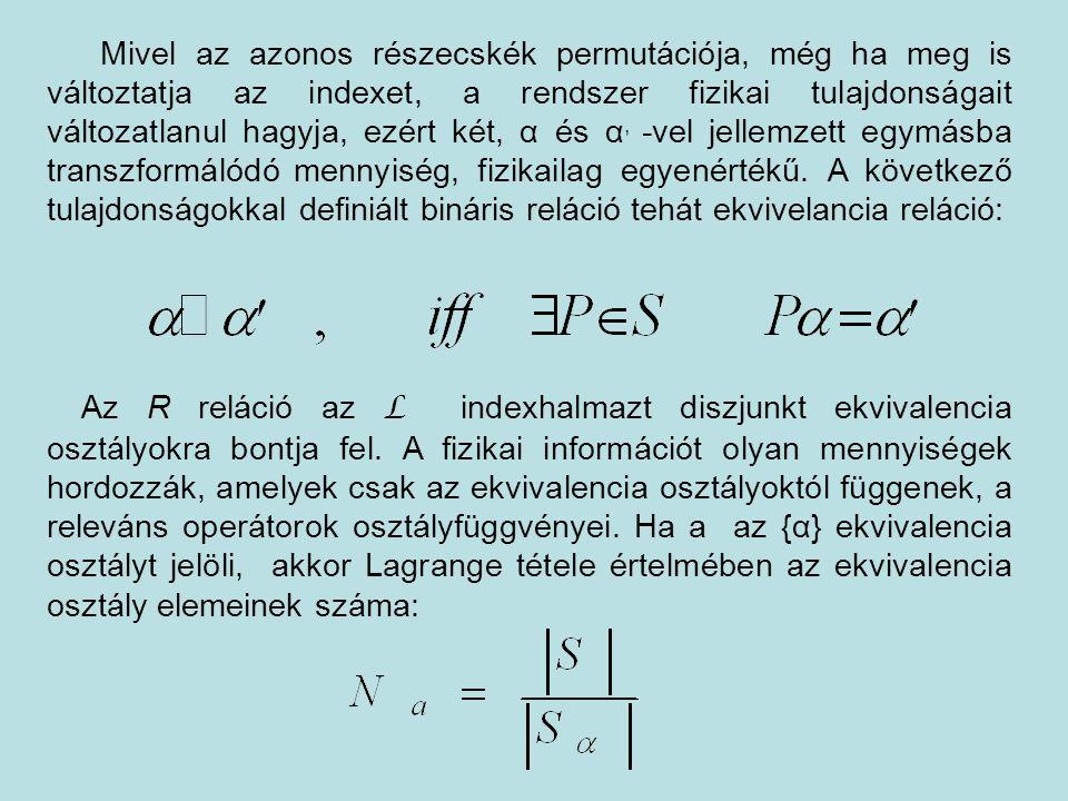 Mivel az azonos részecskék permutációja, még ha meg is változtatja az indexet, a rendszer fizikai tulajdonságait változatlanul hagyja, ezért két, α és
