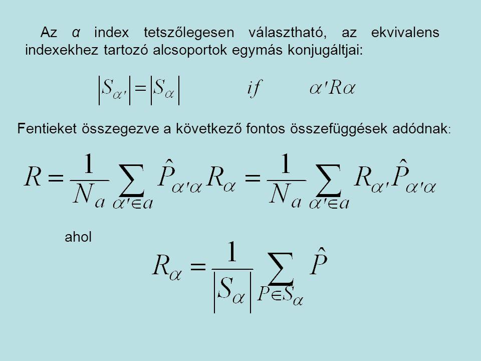 Az α index tetszőlegesen választható, az ekvivalens indexekhez tartozó alcsoportok egymás konjugáltjai: Fentieket összegezve a következő fontos összef