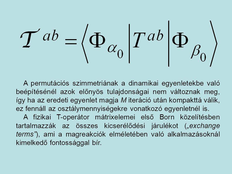 A permutációs szimmetriának a dinamikai egyenletekbe való beépítésénél azok előnyös tulajdonságai nem változnak meg, így ha az eredeti egyenlet magja