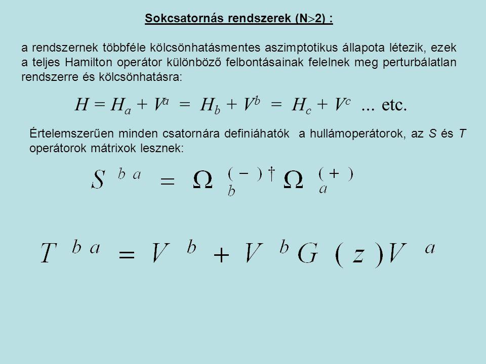 Sokcsatornás rendszerek (N  2) : a rendszernek többféle kölcsönhatásmentes aszimptotikus állapota létezik, ezek a teljes Hamilton operátor különböző