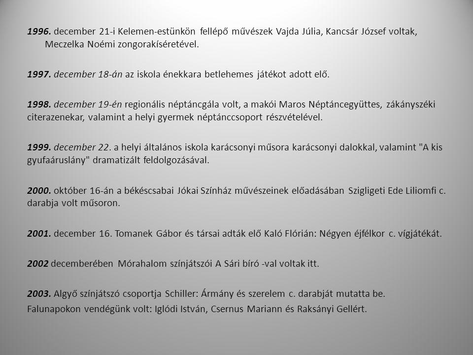 1996. december 21-i Kelemen-estünkön fellépő művészek Vajda Júlia, Kancsár József voltak, Meczelka Noémi zongorakíséretével. 1997. december 18-án az i