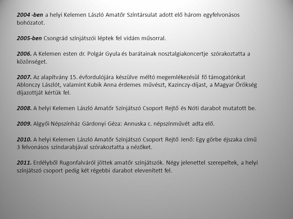 2004 -ben a helyi Kelemen László Amatőr Színtársulat adott elő három egyfelvonásos bohózatot. 2005-ben Csongrád színjátszói léptek fel vidám műsorral.