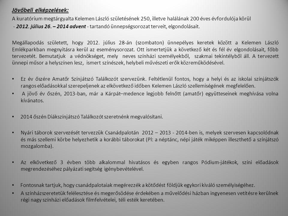 Jövőbeli elképzelések: A kuratórium megtárgyalta Kelemen László születésének 250, illetve halálának 200 éves évfordulója körül - 2012.