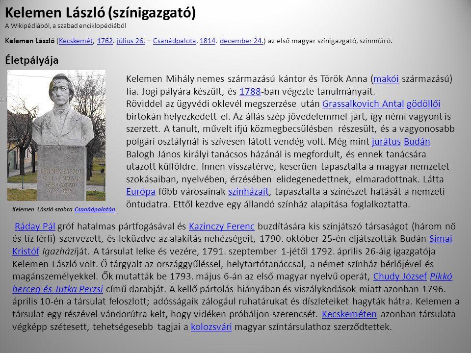Kelemen Mihály nemes származású kántor és Török Anna (makói származású) fia.