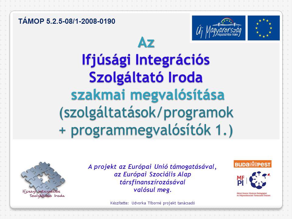 Az Ifjúsági Integrációs Szolgáltató Iroda szakmai megvalósítása (szolgáltatások/programok + programmegvalósítók 1.) A projekt az Európai Unió támogatásával, az Európai Szociális Alap társfinanszírozásával valósul meg.