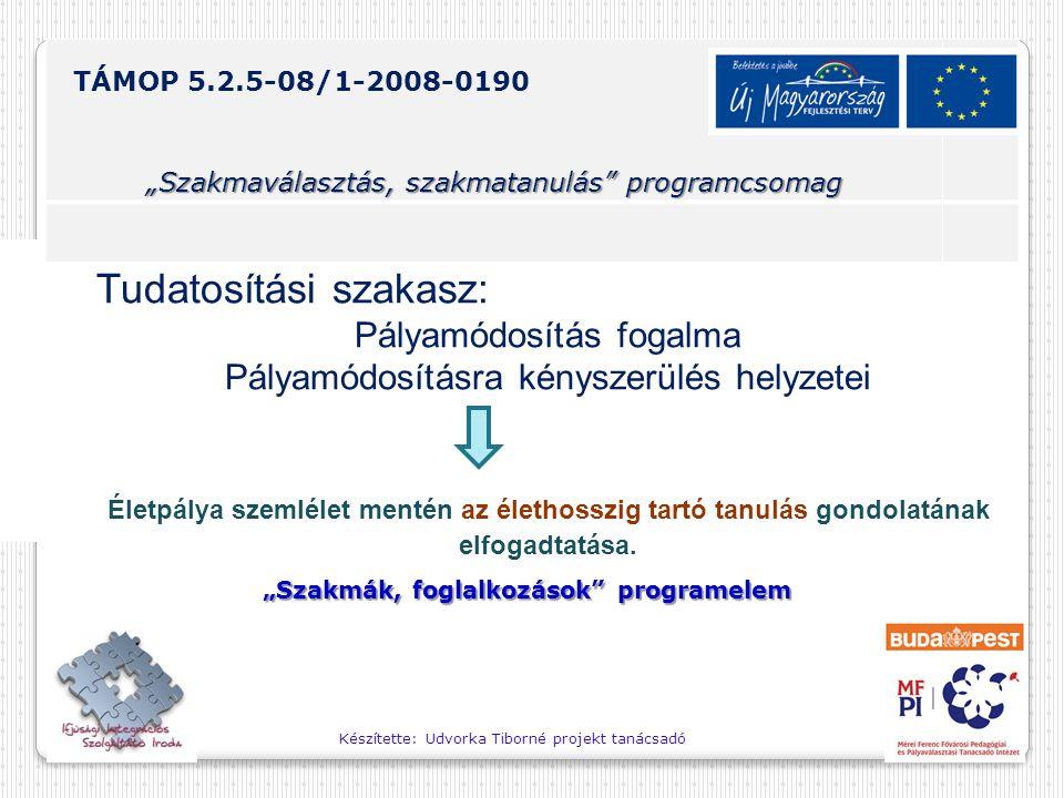 """Készítette: Udvorka Tiborné projekt tanácsadó TÁMOP 5.2.5-08/1-2008-0190 """"Szakmaválasztás, szakmatanulás programcsomag """"Szakmák, foglalkozások programelem Tudatosítási szakasz: Pályamódosítás fogalma Pályamódosításra kényszerülés helyzetei Életpálya szemlélet mentén az élethosszig tartó tanulás gondolatának elfogadtatása."""