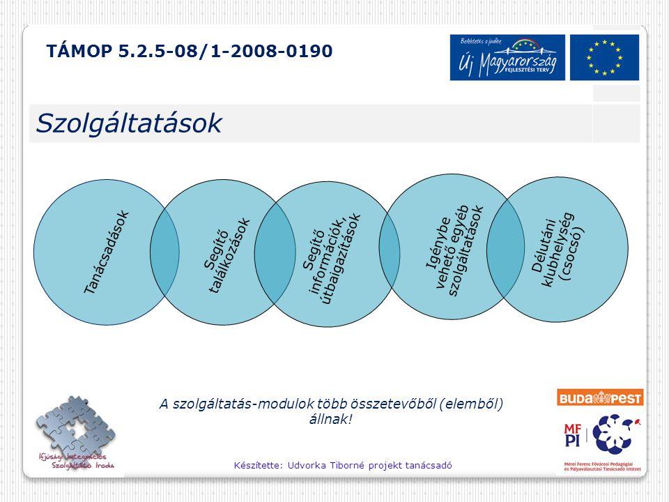 Készítette: Udvorka Tiborné projekt tanácsadó A szolgáltatás-modulok több összetevőből (elemből) állnak! TÁMOP 5.2.5-08/1-2008-0190 Szolgáltatások Tan
